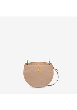 Bally Cecyle Small Neutral, Women's croc printed calf leather small crossbody bag in skin