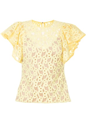 GINGER & SMART Link embroidered tulle top - Yellow