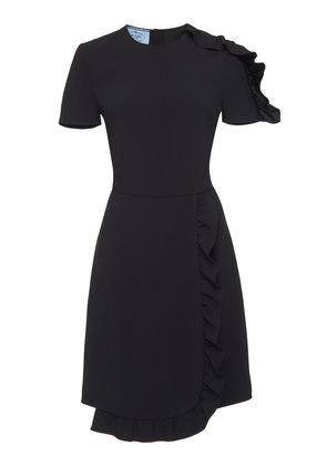 Prada Asymmetric Ruffle Satin Mini Dress