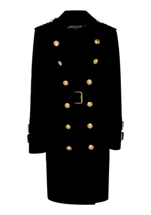 Balmain Button-Detailed Stretch Cotton-Gabardine Trench Coat