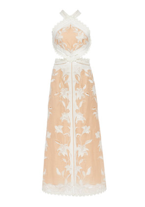 Zimmermann Lily Cutout Silk And Linen-Blend Halterneck Dress