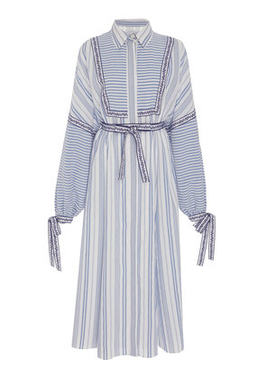 Andrew Gn Striped Long-Sleeve Midi Dress