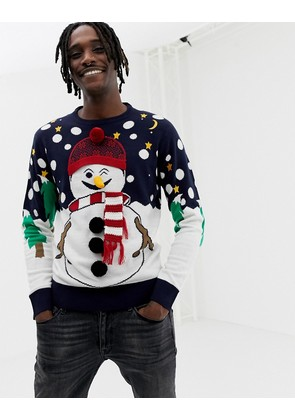 Brave Soul Christmas Naughty Snowman Jumper - Navy