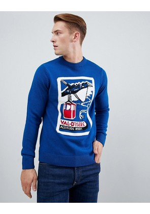 New Look jumper with retro ski design in blue - Mid blue