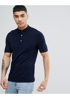 New Look Muscle Fit Polo Shirt In Navy - Navy