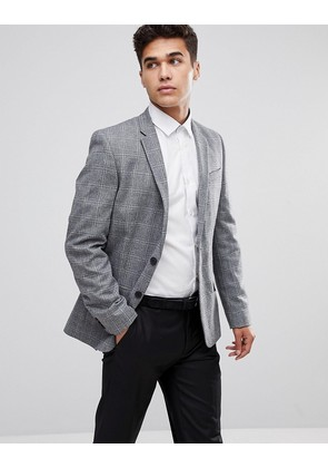 New Look Blazer In Wide Check Print In Grey - Mid grey