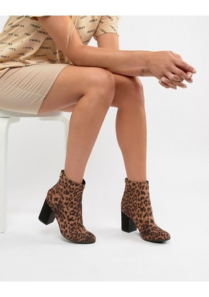 New Look Leopard Print Block Heeled Ankle Boot - Leopard
