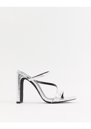 New Look square toe mule in silver - Silver