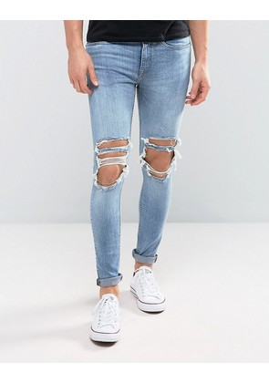 New Look super skinny jeans with extreme rips in mid wash - Mid blue