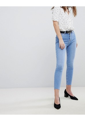 New Look Super Skinny High Rise Frayed Hem Jean - Blue