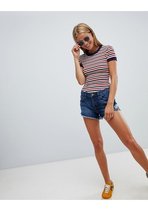 New Look raw hem longerline denim shorts - Blue