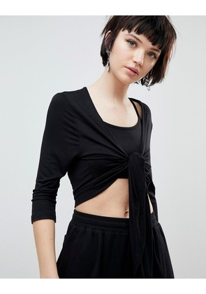 New Look Tie Front Top - Black