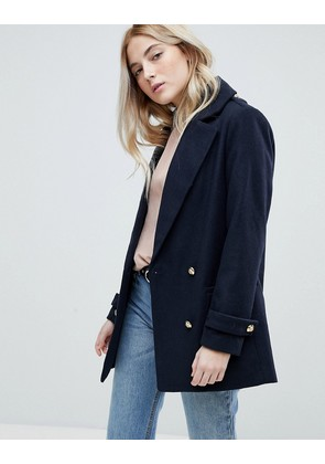 New Look Formal Pea Coat With Gold Buttons - Navy