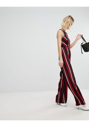New Look Stripe Wide Leg Jumpsuit - Black pattern