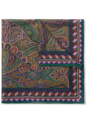 Paisley-print Linen And Silk-blend Pocket Square