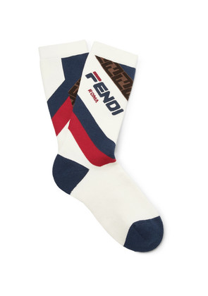 Logo-intarsia Stretch Cotton-blend Socks