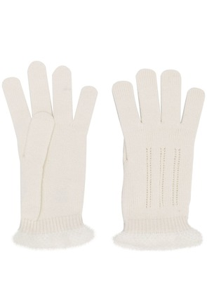Cruciani knitted gloves - White