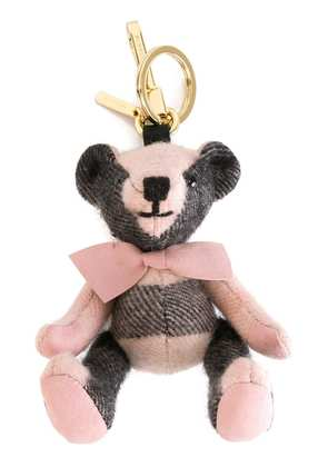 Burberry Thomas Bear Charm in Check Cashmere - Pink