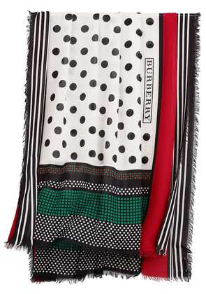 Burberry graphic spot and stripe print scarf - White