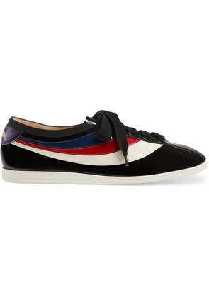 Gucci Patent leather low-top sneaker with Web - Black
