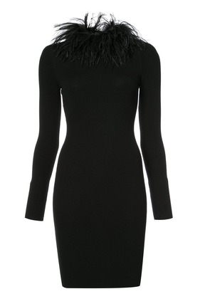 Boutique Moschino feather collar dress - Black