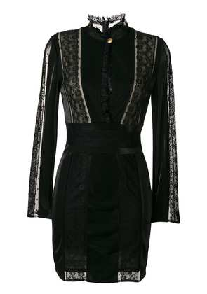 Pierre Balmain lace panel fitted dress - Black