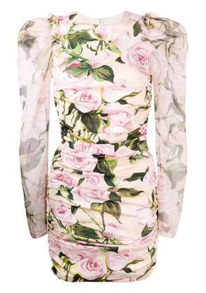 Dolce & Gabbana ruched floral mini dress - Pink