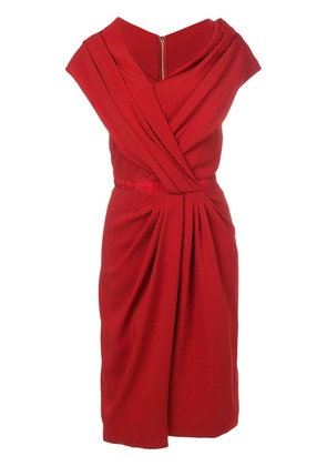 Vionnet ruched asymmetric dress - Red