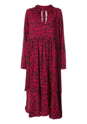 Barbara Bologna leopard print hooded dress - Red