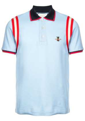 Gucci embroidered bee polo shirt - Blue