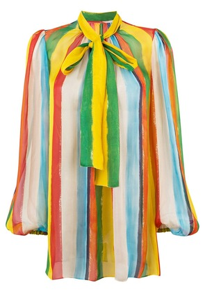 Dolce & Gabbana rainbow stripe blouse with pussy bow - Multicolour