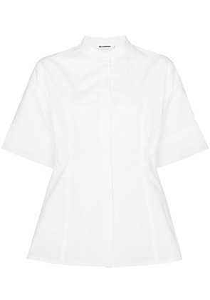 Jil Sander grandad collar fitted shirt - White
