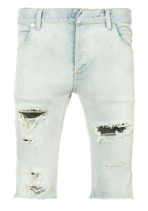 Balmain distressed denim shorts - Blue
