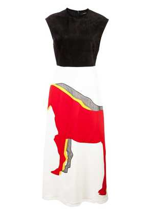 Derek Lam Sleeveless A-Line Dress with Horse Embroidery - White