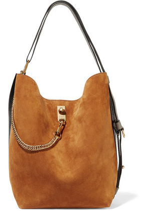 Givenchy - Gv Bucket Suede And Textured-leather Shoulder Bag - Tan