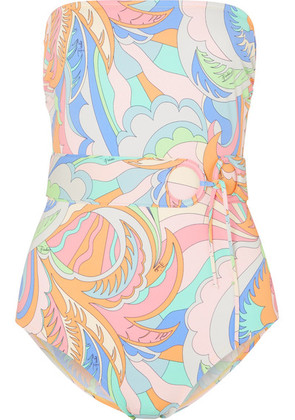 Emilio Pucci - Belted Printed Bandeau Swimsuit - Lilac