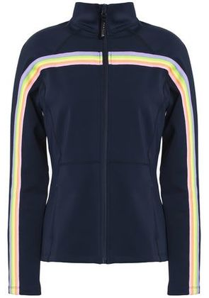Purity Active Woman Striped Stretch-jersey Jacket Midnight Blue Size XS