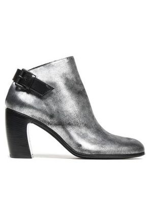 Ann Demeulemeester Woman Metallic Leather Ankle Boots Silver Size 36
