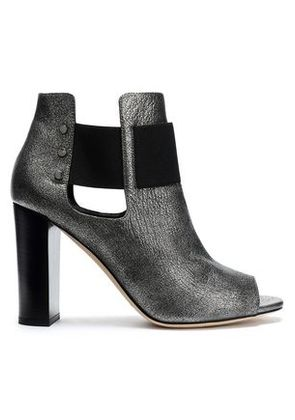 Jimmy Choo Woman Cutout Metallic Cracked-leather Ankle Boots Gunmetal Size 36.5