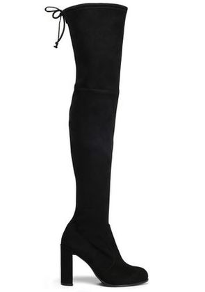 Stuart Weitzman Woman Hiline Suede Over-the-knee Boots Black Size 35.5