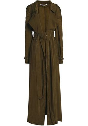 Mcq Alexander Mcqueen Woman Woven Trench Coat Army Green Size 36