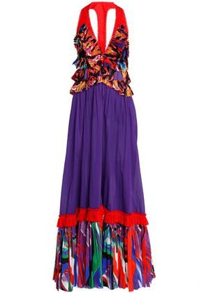Roberto Cavalli Woman Paneled Printed Cotton Maxi Dress Violet Size 40