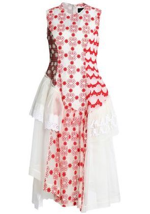 Simone Rocha Woman Paneled Lace, Embroidered Tulle And Printed Chiffon Midi Dress Red Size 10