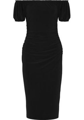 Norma Kamali Woman Sophia Off-the-shoulder Ruched Stretch-jersey Dress Black Size XS