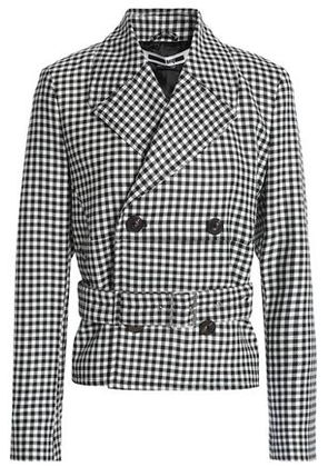Mcq Alexander Mcqueen Woman Double-breasted Checked Wool-twill Jacket Black Size 40