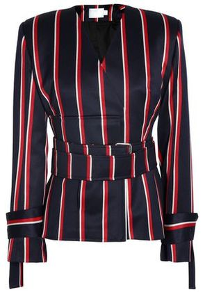 Solace London Woman Belted Striped Wool And Cotton-blend Blazer Navy Size 4