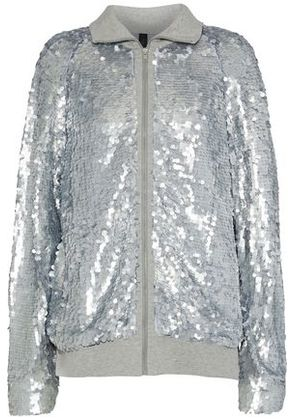 Norma Kamali Woman Sequined Tulle And Cotton-jersey Jacket Light Gray Size XS