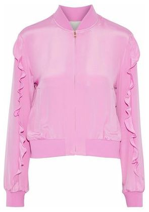 Tibi Woman Ruffled Silk Crepe De Chine Bomber Jacket Baby Pink Size S