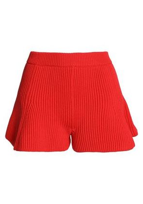 Mm6 By Maison Margiela Woman Fluted Ribbed-knit Shorts Red Size M