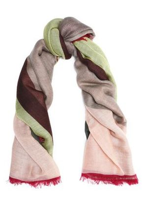 Valentino Woman Fringe-trimmed Cashmere And Silk-blend Scarf Peach Size -